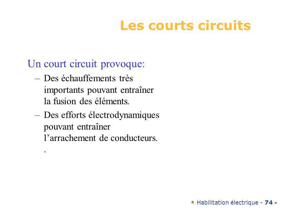 Habilitation électrique - 74 - Les courts circuits Un court circuit provoque: –Des échauffements très importants pouvant entraîner la fusion des éléme