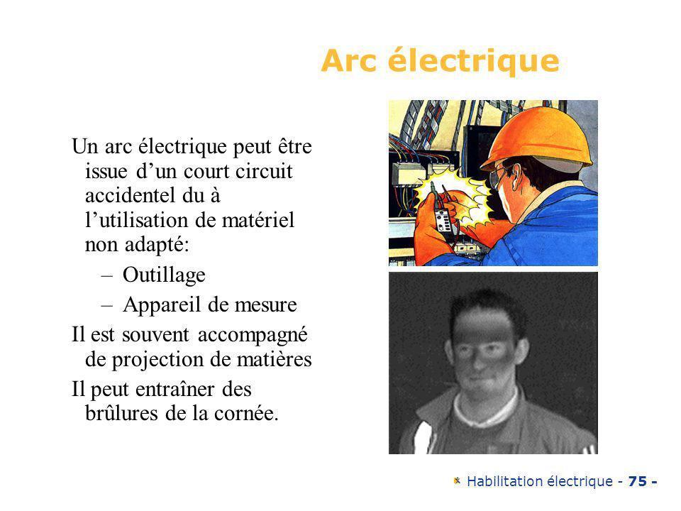 Habilitation électrique - 75 - Arc électrique Un arc électrique peut être issue dun court circuit accidentel du à lutilisation de matériel non adapté: