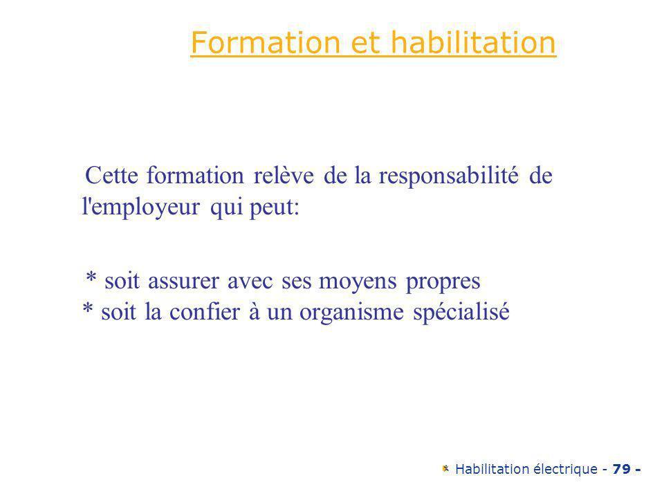Habilitation électrique - 79 - Formation et habilitation Cette formation relève de la responsabilité de l'employeur qui peut: * soit assurer avec ses