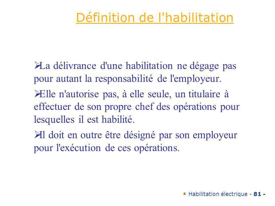 Habilitation électrique - 81 - Définition de l'habilitation La délivrance d'une habilitation ne dégage pas pour autant la responsabilité de l'employeu