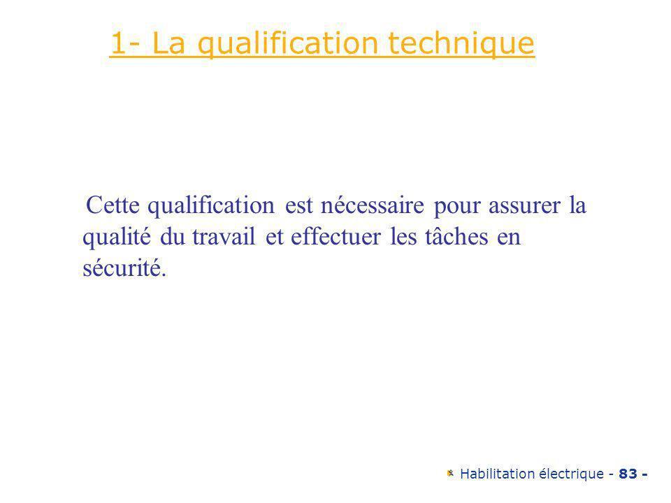 Habilitation électrique - 83 - 1- La qualification technique Cette qualification est nécessaire pour assurer la qualité du travail et effectuer les tâ
