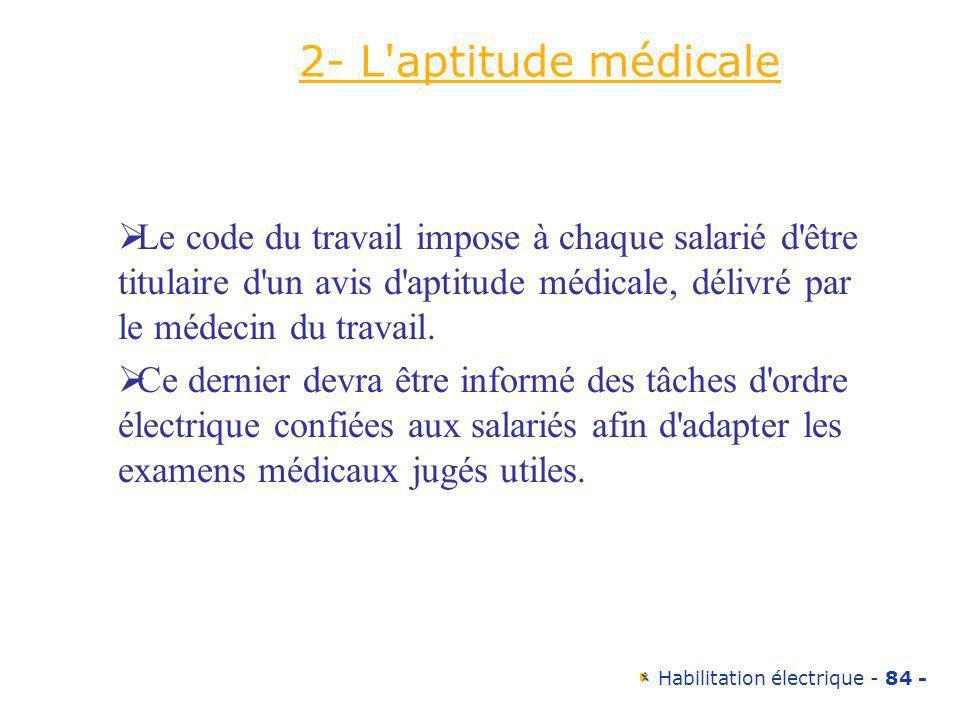 Habilitation électrique - 84 - 2- L'aptitude médicale Le code du travail impose à chaque salarié d'être titulaire d'un avis d'aptitude médicale, déliv