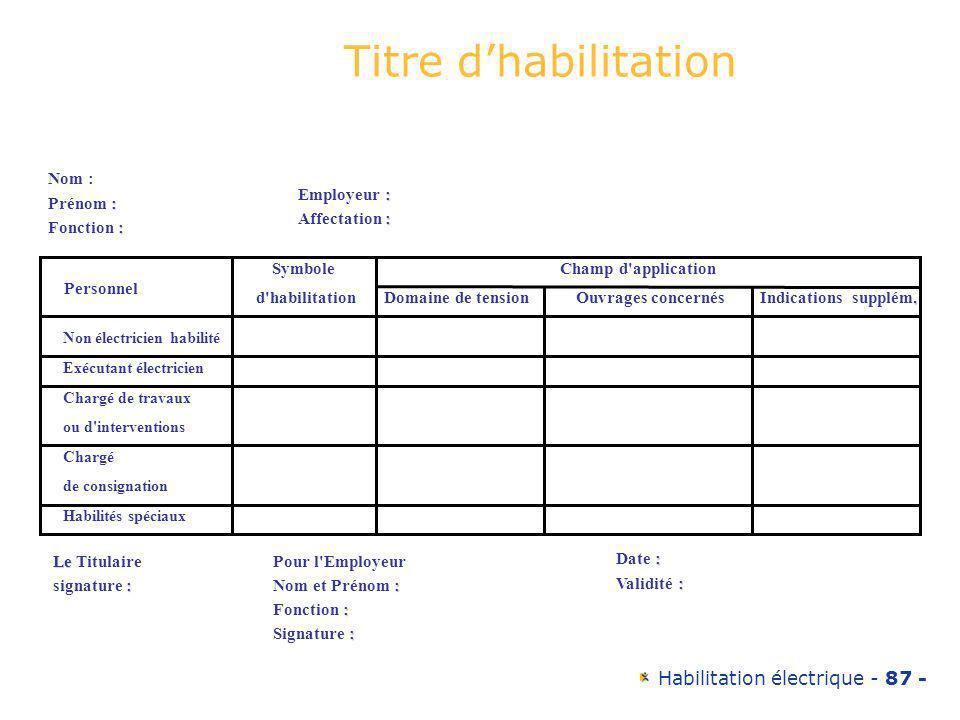 Habilitation électrique - 87 - Nom : : Prénom : : Fonction : : Employeur : : Affectation : Personnel Symbole d'habilitation Champ d'application Domain