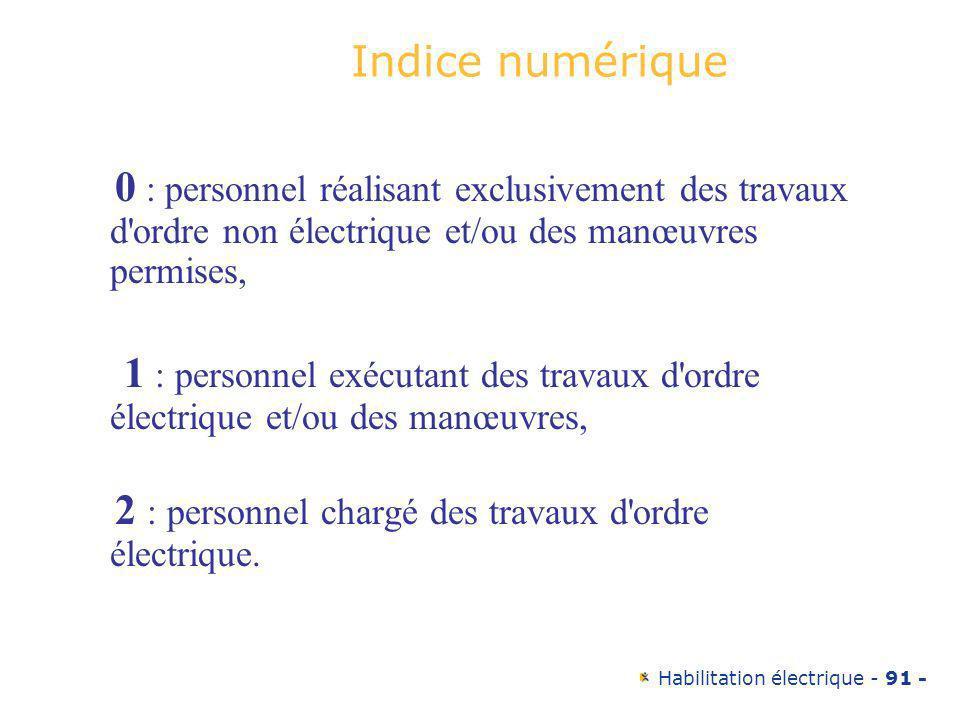 Habilitation électrique - 91 - Indice numérique 0 : personnel réalisant exclusivement des travaux d'ordre non électrique et/ou des manœuvres permises,