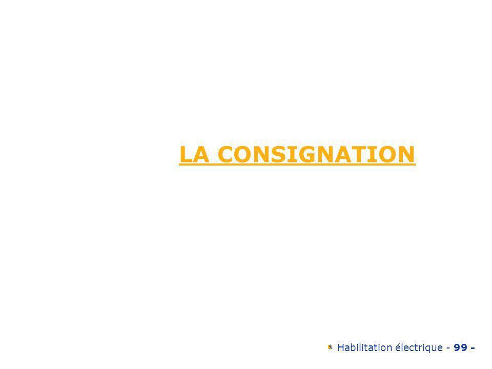 Habilitation électrique - 99 - LA CONSIGNATION