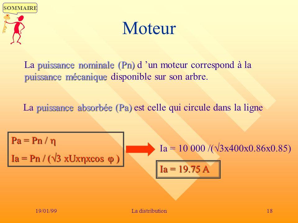 SOMMAIRE 19/01/9918La distribution Moteur puissance nominale (Pn) puissance mécanique La puissance nominale (Pn) d un moteur correspond à la puissance