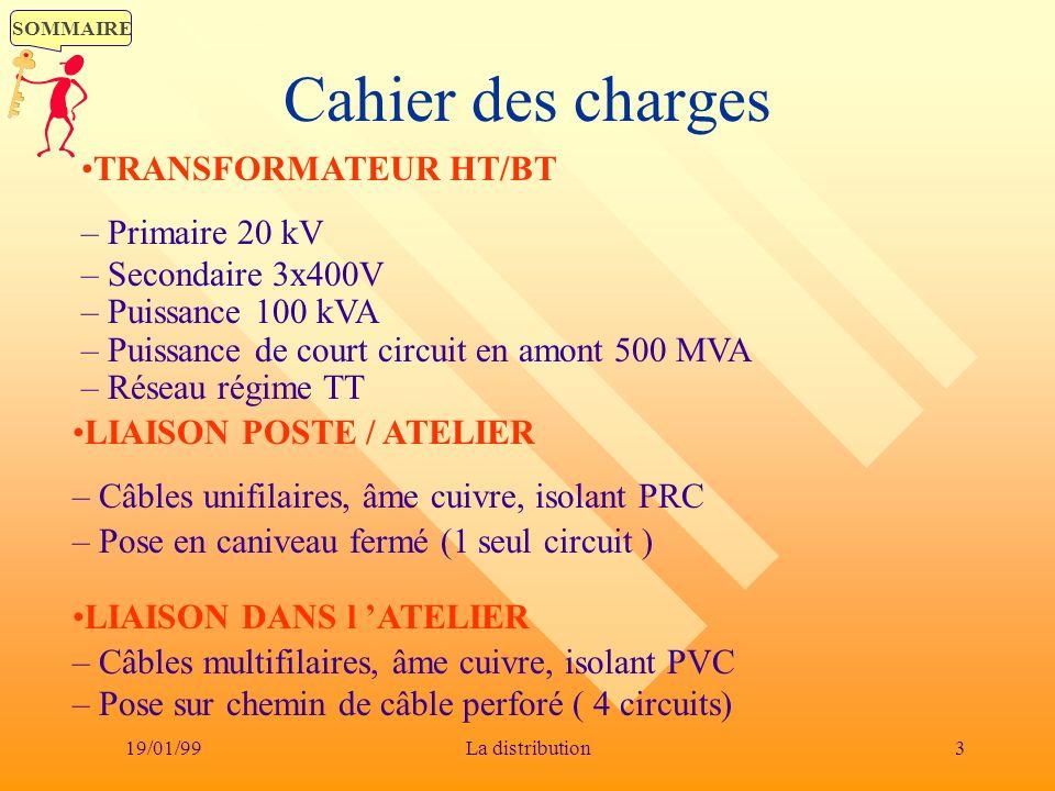 SOMMAIRE 19/01/993La distribution Cahier des charges LIAISON DANS l ATELIER – Câbles multifilaires, âme cuivre, isolant PVC – Pose sur chemin de câble