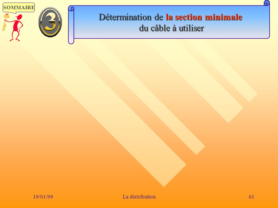 SOMMAIRE 19/01/9961La distribution Détermination de la section minimale du câble à utiliser du câble à utiliser