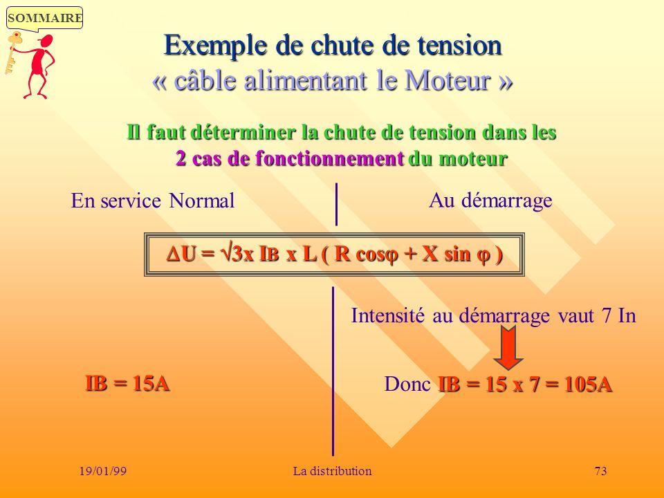 SOMMAIRE 19/01/9973La distribution Exemple de chute de tension « câble alimentant le Moteur » Il faut déterminer la chute de tension dans les 2 cas de