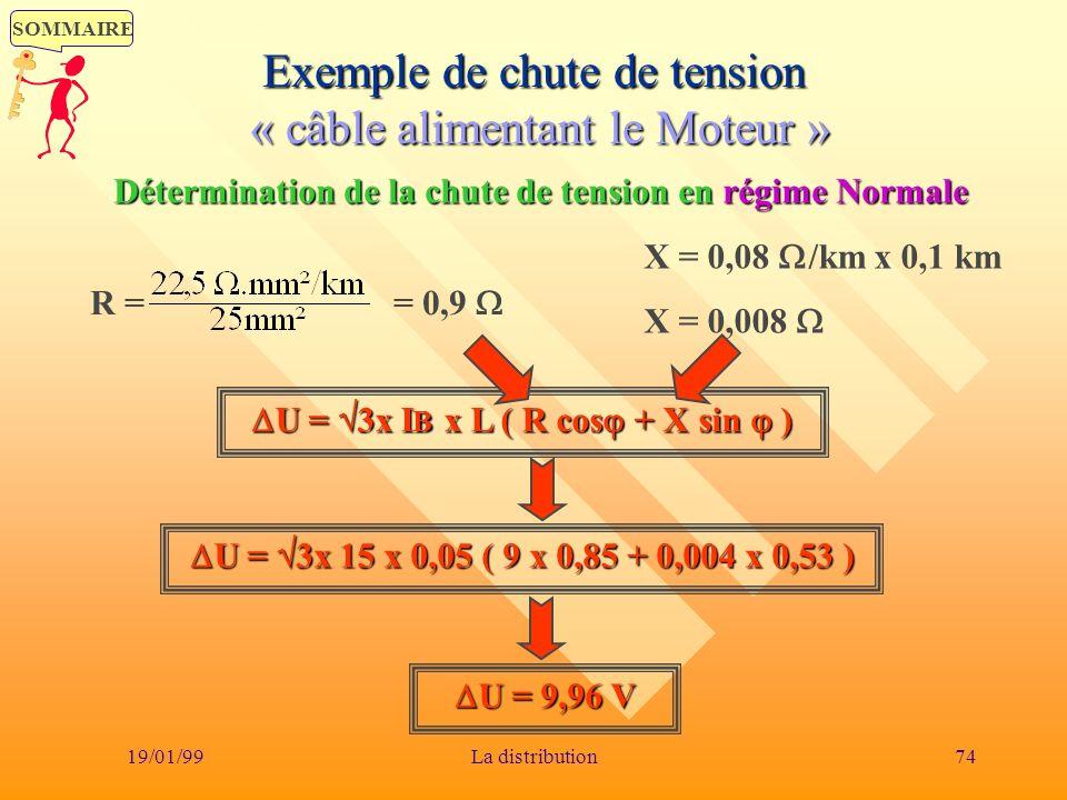 SOMMAIRE 19/01/9974La distribution Exemple de chute de tension « câble alimentant le Moteur » U = 3x I B x L ( R cos + X sin ) U = 3x I B x L ( R cos