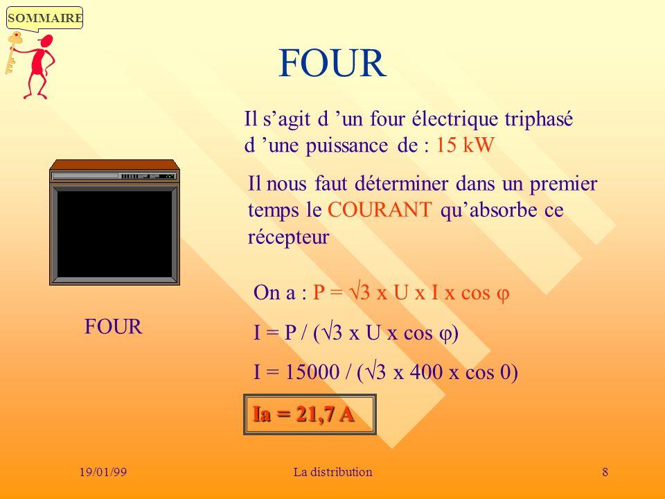 SOMMAIRE 19/01/998La distribution FOUR Il sagit d un four électrique triphasé d une puissance de : 15 kW Il nous faut déterminer dans un premier temps