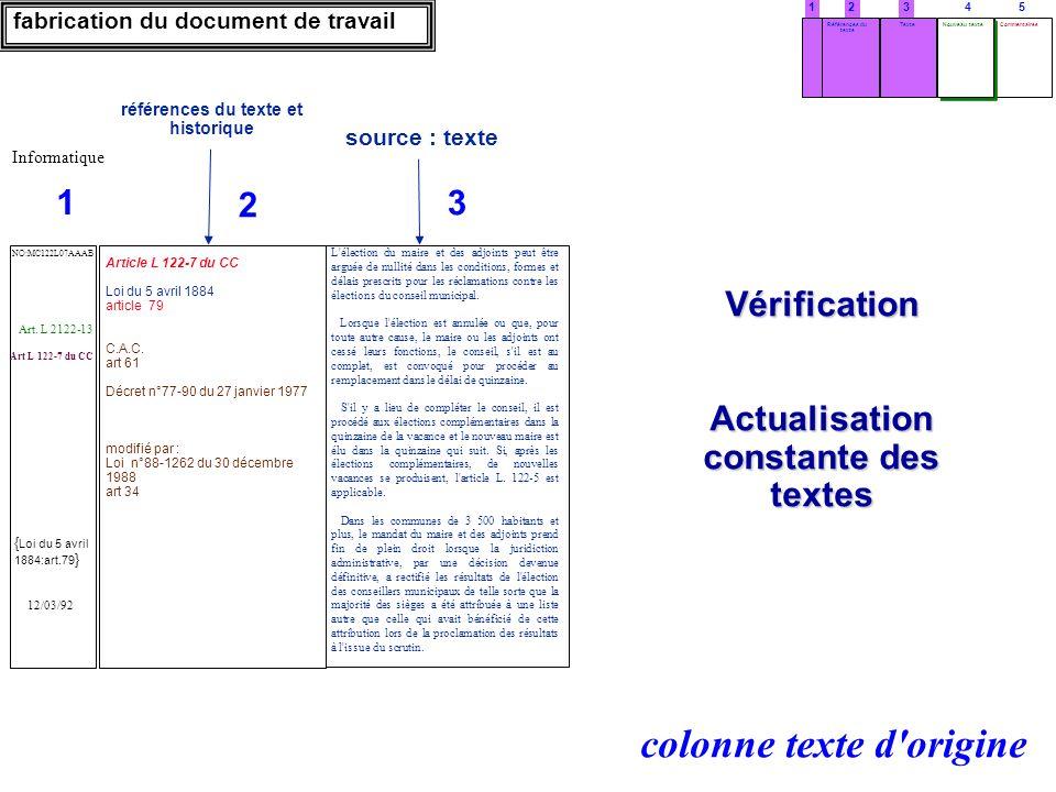 Vérification Actualisation constante des textes fabrication du document de travail références du texte et historique source : texte 3 L'élection du ma