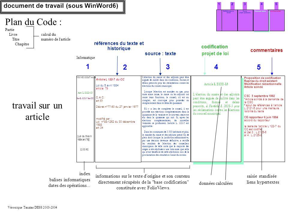 Véronique Tauziac DESS 2003-2004 54321 Texte (droit constant) Références du texte Nouveau texteCommentaires document de travail (sous WinWord6) Propos