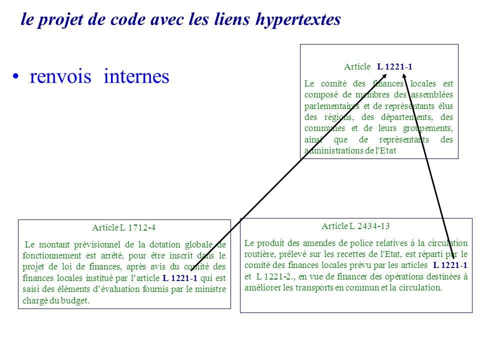le projet de code avec les liens hypertextes renvois internes Article L 1221-1 Le comité des finances locales est composé de membres des assemblées pa