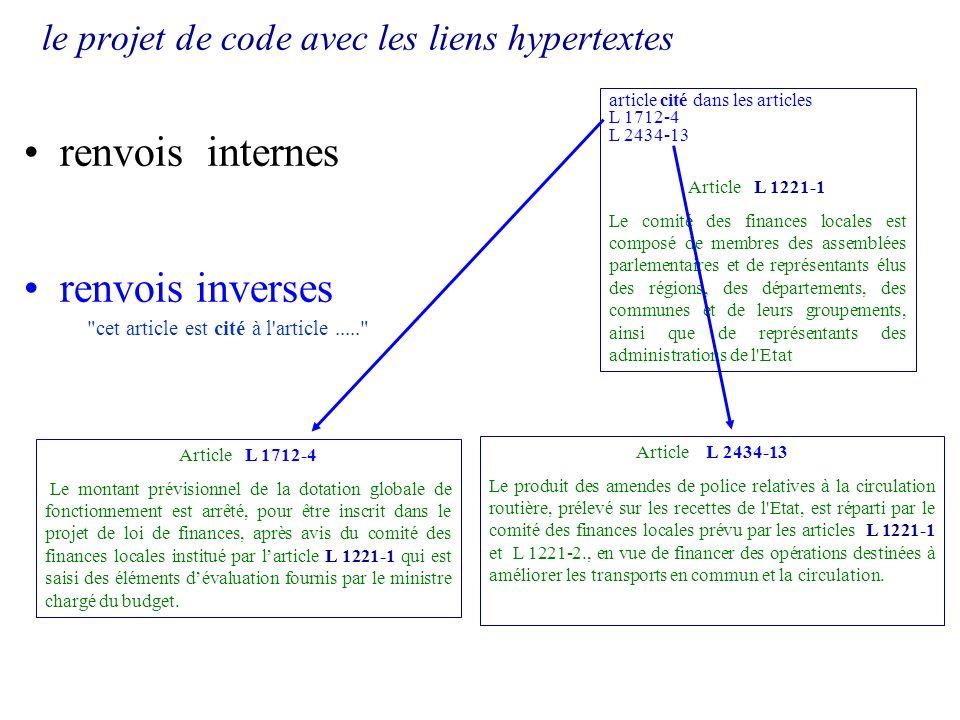 le projet de code avec les liens hypertextes renvois internes renvois inverses article cité dans les articles L 1712-4 L 2434-13 Article L 1221-1 Le c