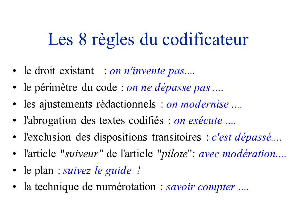 Les 8 règles du codificateur le droit existant : on n'invente pas.... le périmètre du code : on ne dépasse pas.... les ajustements rédactionnels : on