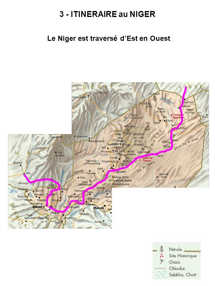 3 - ITINERAIRE au NIGER Le Niger est traversé dEst en Ouest