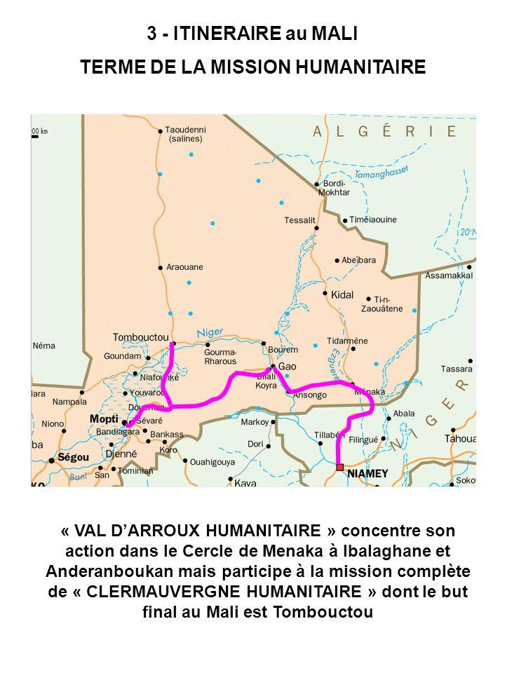3 - ITINERAIRE au MALI TERME DE LA MISSION HUMANITAIRE « VAL DARROUX HUMANITAIRE » concentre son action dans le Cercle de Menaka à Ibalaghane et Ander