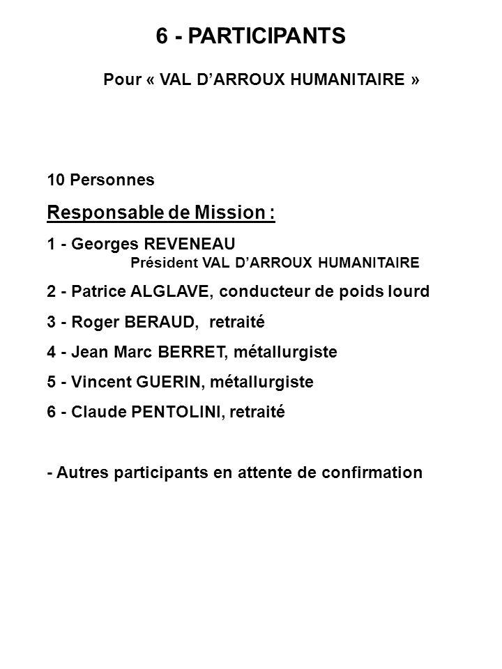 6 - PARTICIPANTS Pour « VAL DARROUX HUMANITAIRE » 10 Personnes Responsable de Mission : 1 - Georges REVENEAU Président VAL DARROUX HUMANITAIRE 2 - Pat
