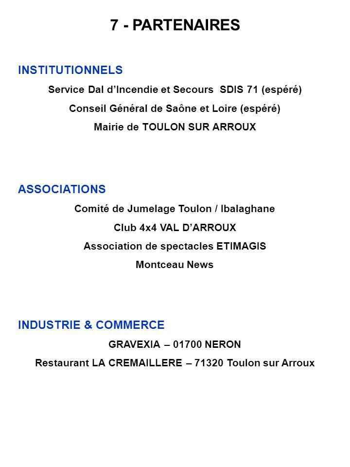 7 - PARTENAIRES INSTITUTIONNELS Service Dal dIncendie et Secours SDIS 71 (espéré) Conseil Général de Saône et Loire (espéré) Mairie de TOULON SUR ARRO