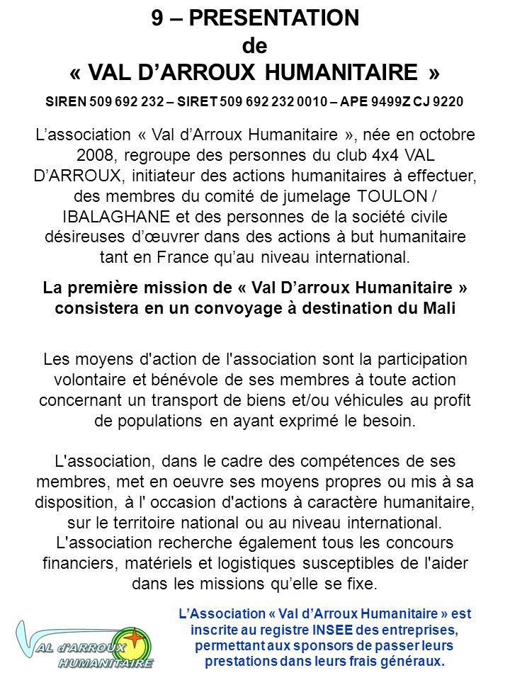 9 – PRESENTATION de « VAL DARROUX HUMANITAIRE » SIREN 509 692 232 – SIRET 509 692 232 0010 – APE 9499Z CJ 9220 Lassociation « Val dArroux Humanitaire