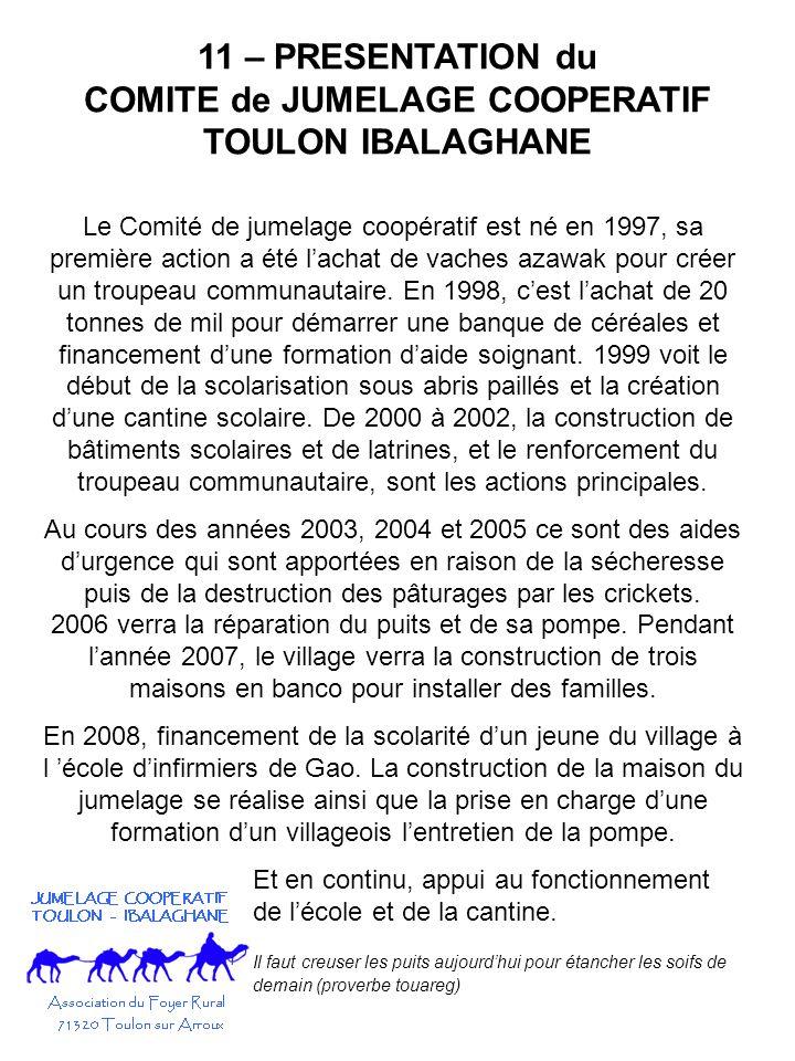 11 – PRESENTATION du COMITE de JUMELAGE COOPERATIF TOULON IBALAGHANE Le Comité de jumelage coopératif est né en 1997, sa première action a été lachat