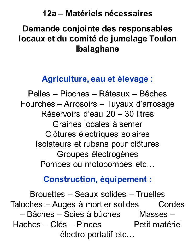 12a – Matériels nécessaires Demande conjointe des responsables locaux et du comité de jumelage Toulon Ibalaghane Agriculture, eau et élevage : Pelles