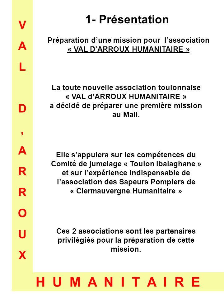 VALD,ARROUXVALD,ARROUX H U M A N I T A I R E 1- Présentation Préparation dune mission pour lassociation « VAL DARROUX HUMANITAIRE » La toute nouvelle