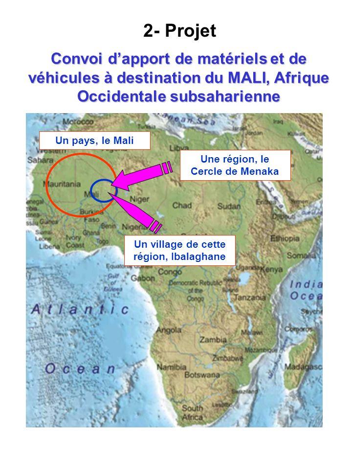 Convoi dapport de matériels et de véhicules à destination du MALI, Afrique Occidentale subsaharienne Une région, le Cercle de Menaka Un pays, le Mali