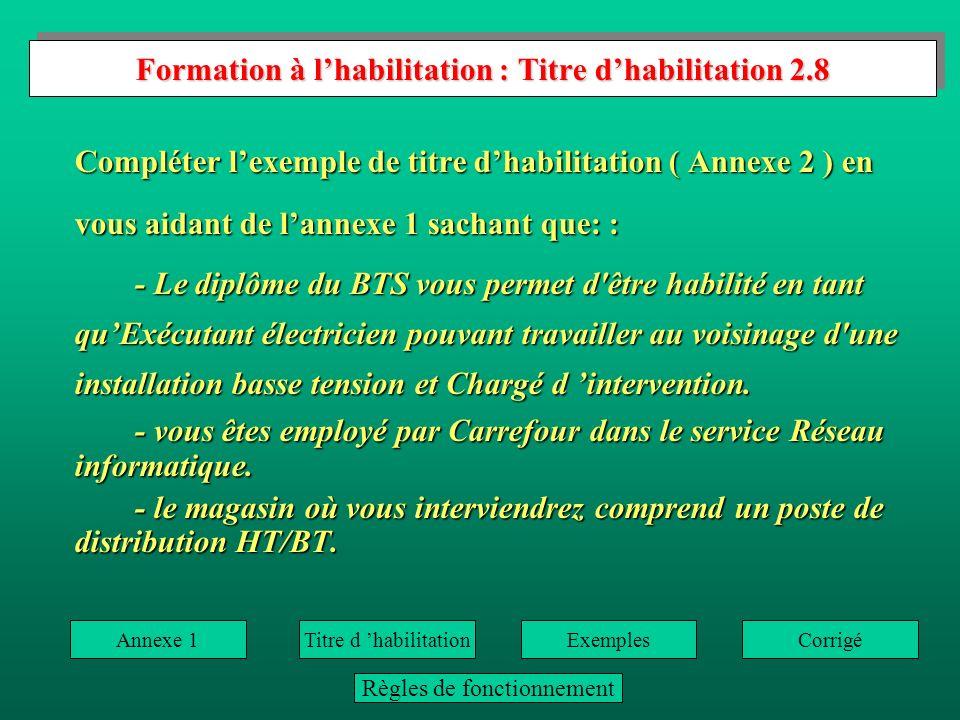 Formation à lhabilitation : Habilitation 2.7 Formation à lhabilitation : Habilitation 2.7 Donner la fonction des personnes ayant les habilitations suivantes pour la BT: Page 50 (3.3.1) Corrigé -B0: Non-électricien.