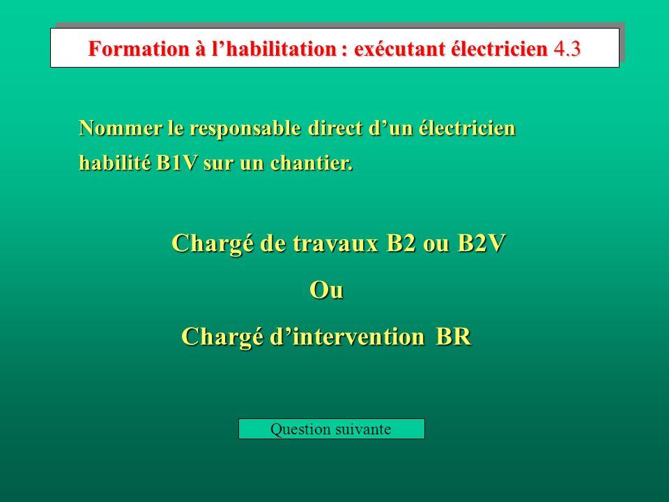 Formation à lhabilitation : exécutant électricien 4.2 Dire si un électricien habilité B1V peut intervenir sur du matériel sous tension.