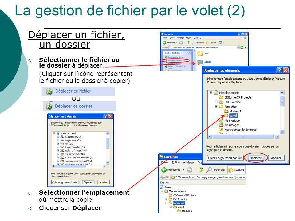 La gestion de fichier par le volet (2) Déplacer un fichier, un dossier Sélectionner le fichier ou le dossier à déplacer. (Cliquer sur licône représent