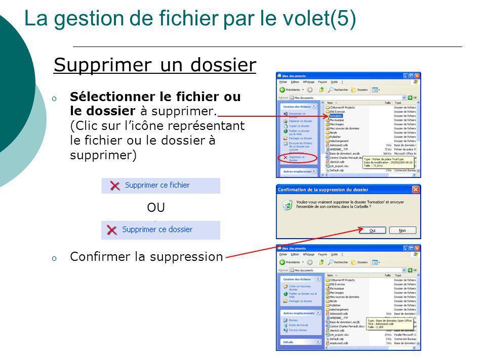 La gestion de fichier par le volet(5) Supprimer un dossier o Sélectionner le fichier ou le dossier à supprimer. (Clic sur licône représentant le fichi