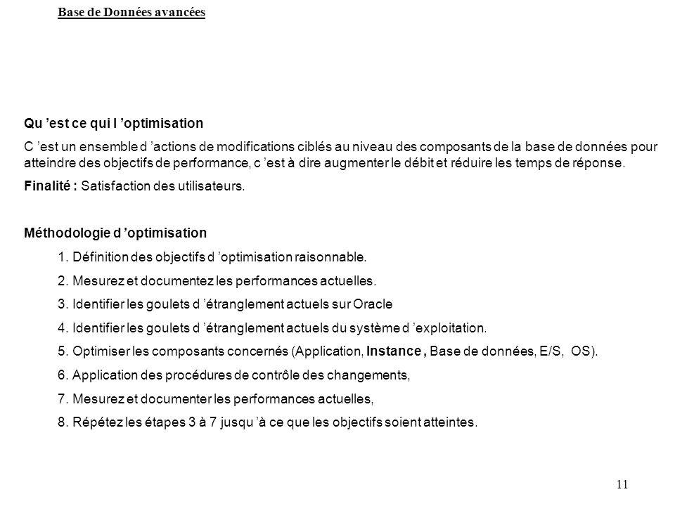 11 Base de Données avancées Qu est ce qui l optimisation C est un ensemble d actions de modifications ciblés au niveau des composants de la base de do