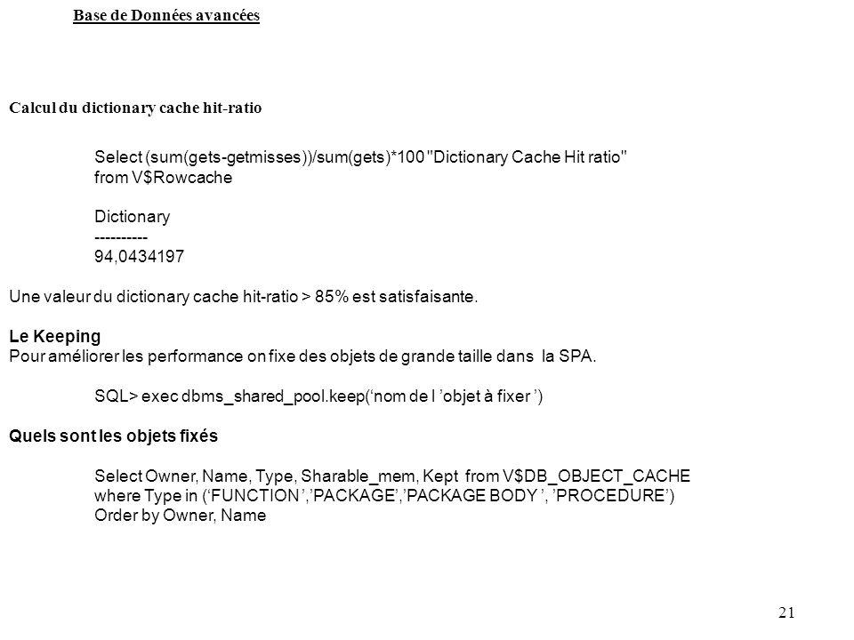 21 Base de Données avancées Calcul du dictionary cache hit-ratio Select (sum(gets-getmisses))/sum(gets)*100