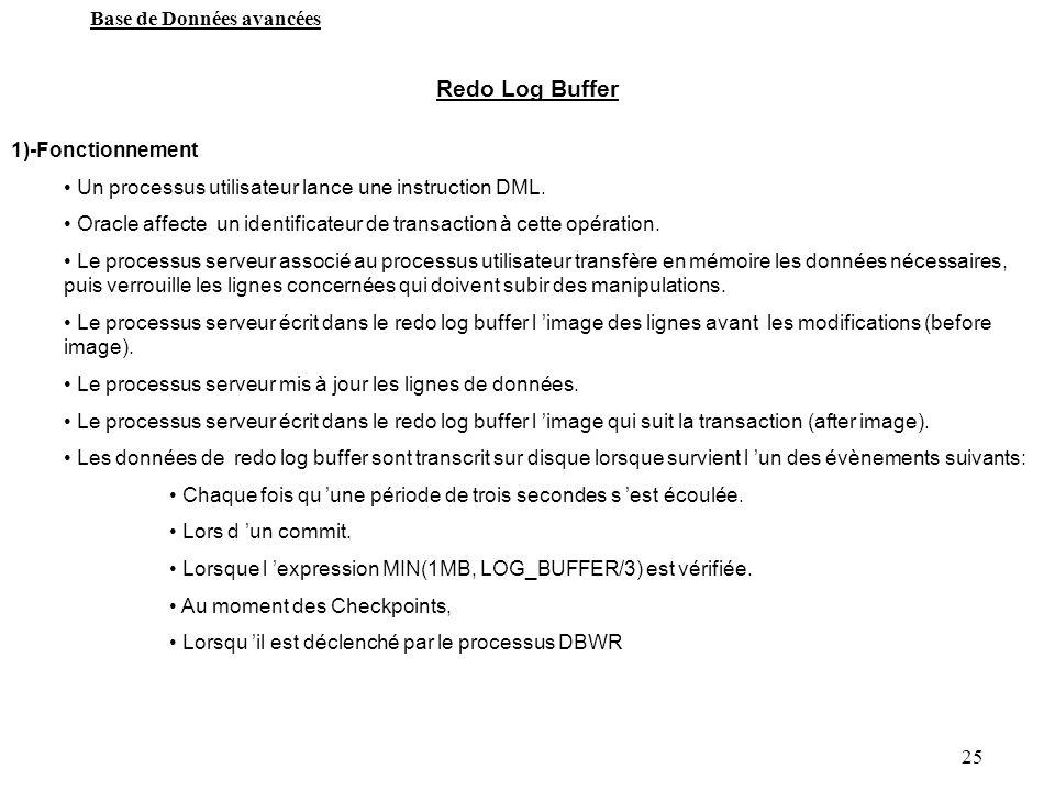 25 Base de Données avancées Redo Log Buffer 1)-Fonctionnement Un processus utilisateur lance une instruction DML. Oracle affecte un identificateur de