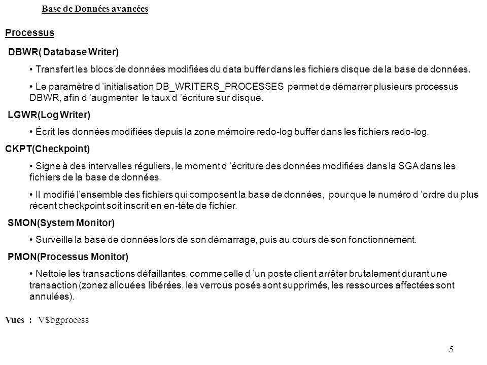 5 Base de Données avancées Processus DBWR( Database Writer) Transfert les blocs de données modifiées du data buffer dans les fichiers disque de la bas
