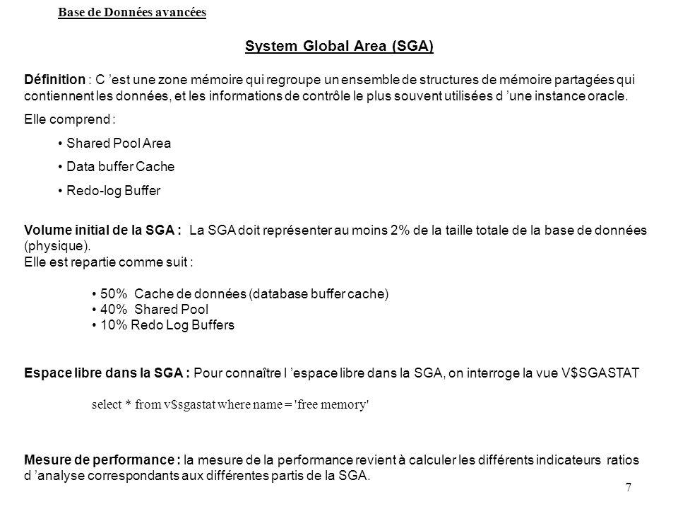 7 System Global Area (SGA) Définition : C est une zone mémoire qui regroupe un ensemble de structures de mémoire partagées qui contiennent les données