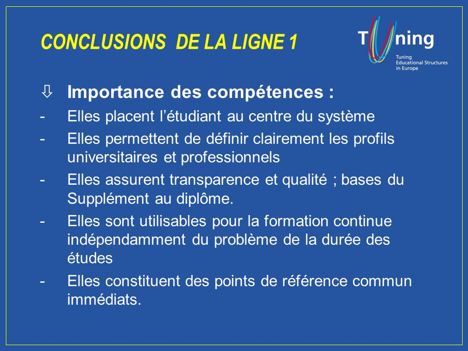 Instrumental Interpersonnel Systémique Résultats 4 1 2 3 5 6 7 8 Capacité à apprendre (2) Connaissances de base 9 Capacité à travailler de façon autonome (4) Capacité danalyse et de synthèse (1) Capacité à gérer linformation (4) Aptitudes à la recherche Résolution des problèmes (1) Souci de qualité (3) Volonté de réussir