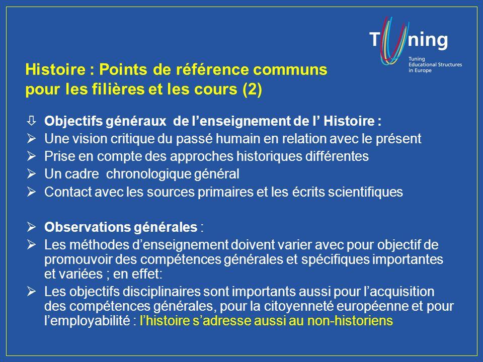 Histoire : Points de référence communs pour les filières et les cours (1) Questions préalables : Quels sont les enseignements obligatoires pour des étudiants en histoire .