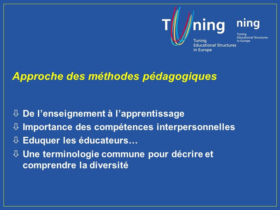 Ligne 4 : Approches pédagogiques, Evaluation, Performance et Qualité (= programme du Tuning II)