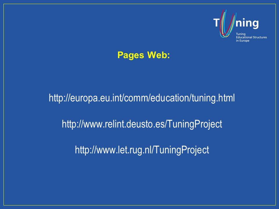 TUNING est un outil commun créé pour les universitaires afin daméliorer la qualité de lenseignement et de construire lEurope du savoir N.B.