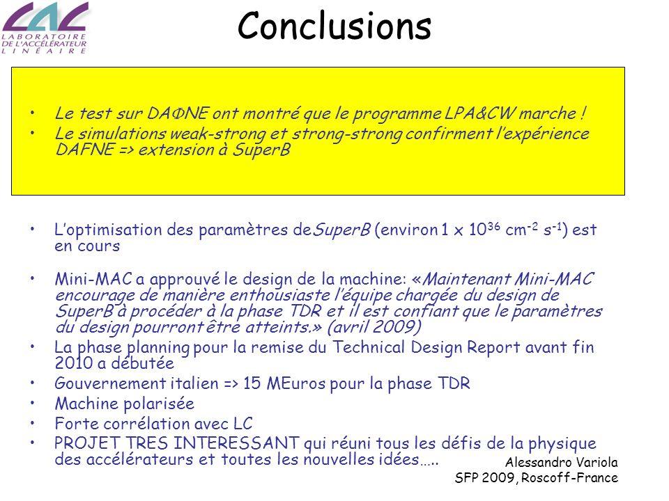 Alessandro Variola SFP 2009, Roscoff-France Conclusions Le test sur DA NE ont montré que le programme LPA&CW marche .