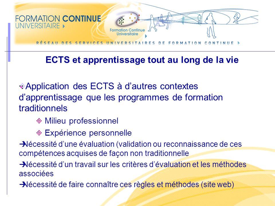 ECTS et apprentissage tout au long de la vie Application des ECTS à dautres contextes dapprentissage que les programmes de formation traditionnels Mil