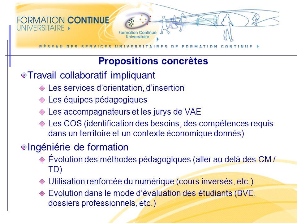Propositions concrètes Travail collaboratif impliquant Les services dorientation, dinsertion Les équipes pédagogiques Les accompagnateurs et les jurys