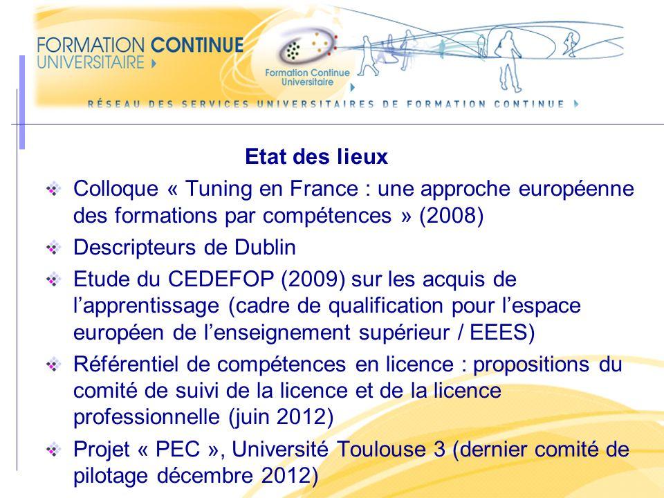 Etat des lieux Colloque « Tuning en France : une approche européenne des formations par compétences » (2008) Descripteurs de Dublin Etude du CEDEFOP (2009) sur les acquis de lapprentissage (cadre de qualification pour lespace européen de lenseignement supérieur / EEES) Référentiel de compétences en licence : propositions du comité de suivi de la licence et de la licence professionnelle (juin 2012) Projet « PEC », Université Toulouse 3 (dernier comité de pilotage décembre 2012)
