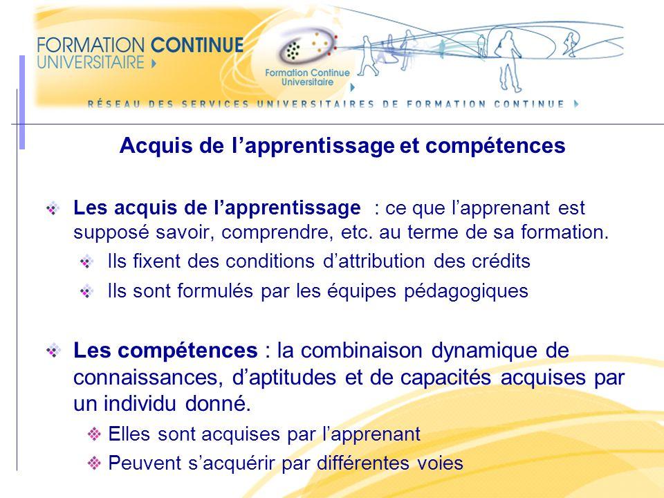 Acquis de lapprentissage et compétences Les acquis de lapprentissage : ce que lapprenant est supposé savoir, comprendre, etc. au terme de sa formation