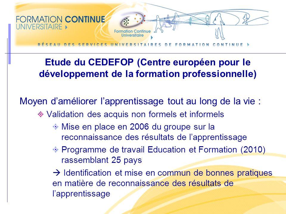 Etude du CEDEFOP (Centre européen pour le développement de la formation professionnelle) Moyen daméliorer lapprentissage tout au long de la vie : Vali