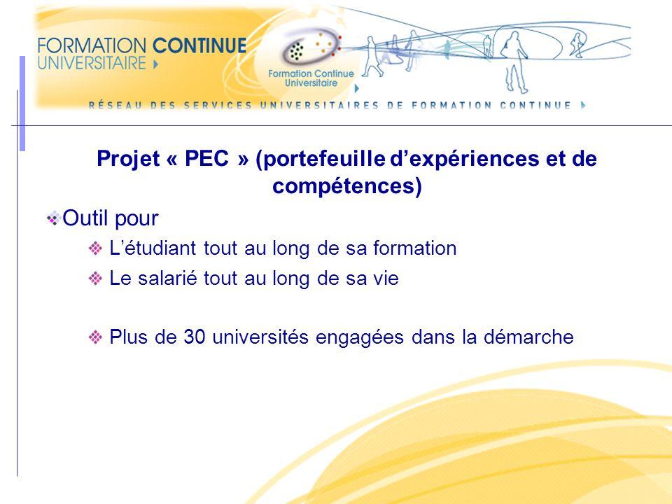 Projet « PEC » (portefeuille dexpériences et de compétences) Outil pour Létudiant tout au long de sa formation Le salarié tout au long de sa vie Plus de 30 universités engagées dans la démarche