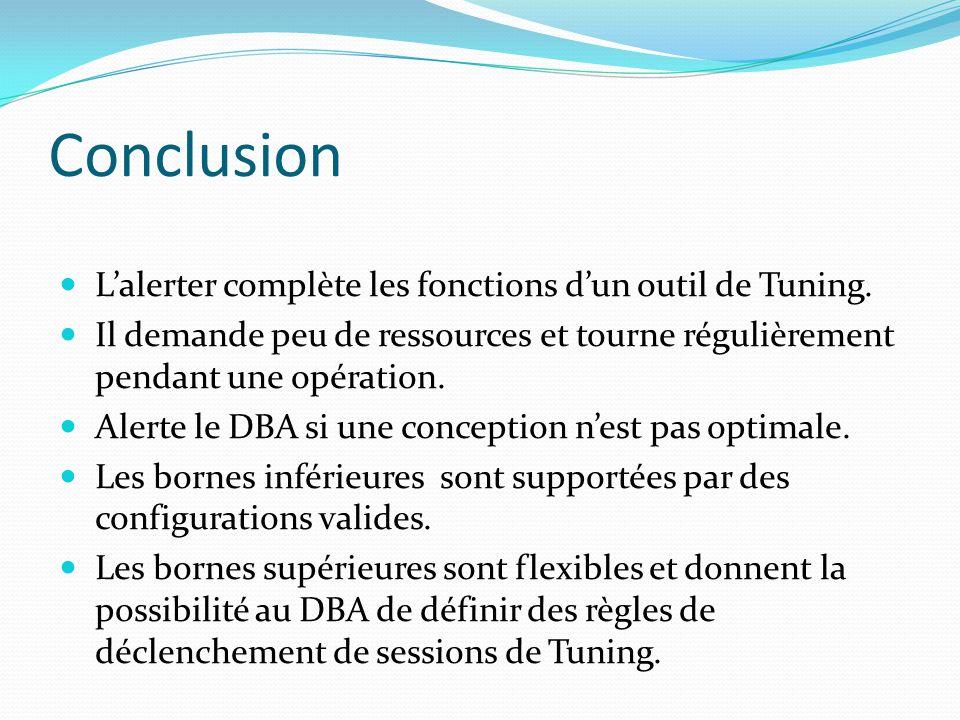 Conclusion Lalerter complète les fonctions dun outil de Tuning. Il demande peu de ressources et tourne régulièrement pendant une opération. Alerte le